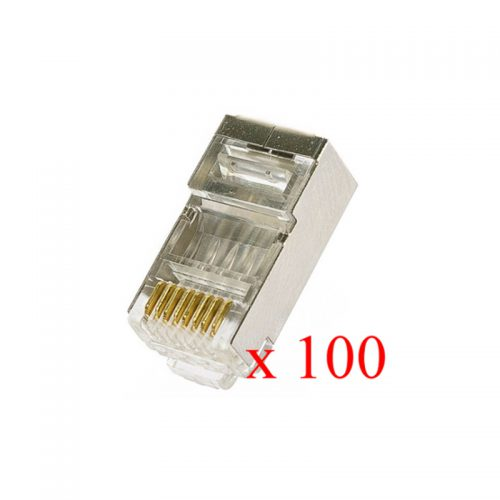 Shielded RJ45 connector for solid wire FTP cable – 100 pieces
